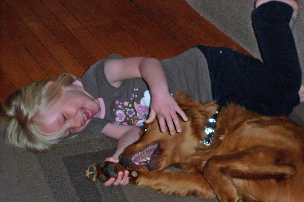 Ava and Dakota,her golden retriever