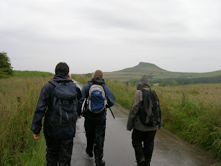 Tom, Mikey & Tassy, with Roseberry Topping in the distance