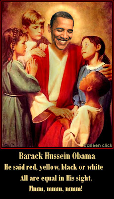 Picture of Jesus with a group of children, but Obama's face instead of Jesus' face, by Darleen Click of proteinwisdom.com