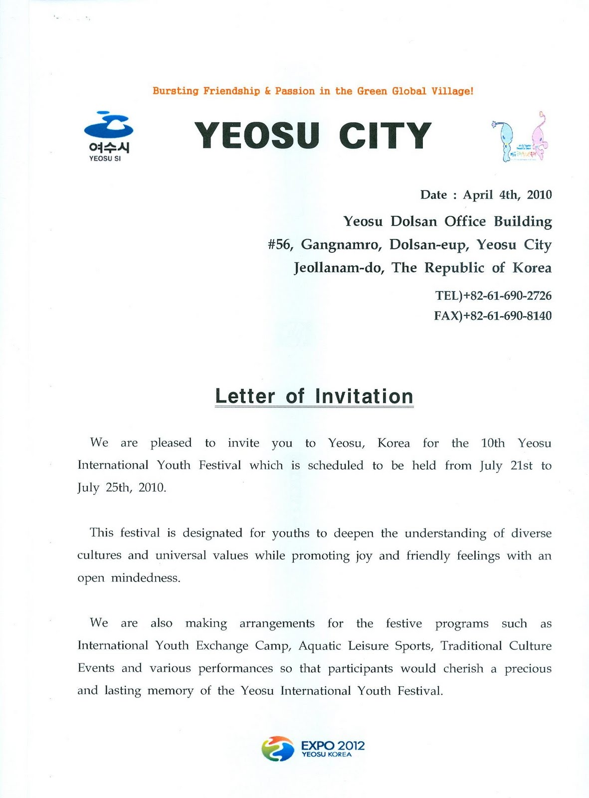 The 10th yeosu international youth festival letter from the mayor this is the letter of invitation from the mayor of yeosu if you need this invitation please feel free to print it off if you require the official stopboris Image collections