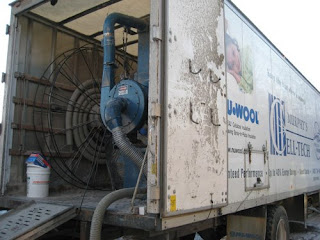 picture of truck used to install spray-in-place cellulose insulation