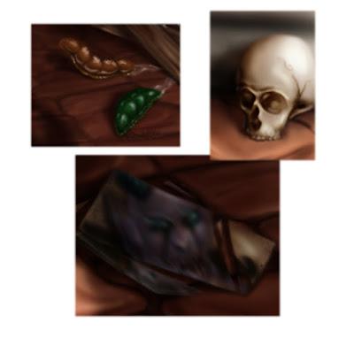Limaces, crâne et miroir