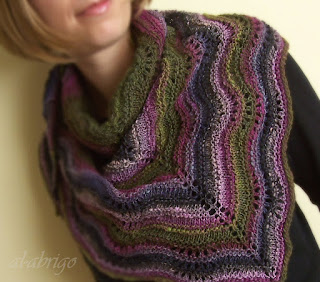 Ravelry: Feather and Fan Triangle Shawl pattern by Cheryl