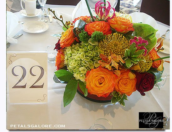 Caribbean Tropical wedding centerpiece Photograph Petals Galore