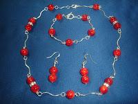 Collar Perlas Rojas y Cristales Swarovski