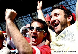 Happy Biarritz rugby team supporters
