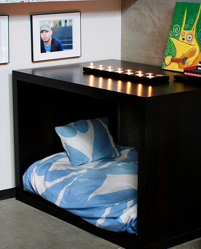 Yes, it's two modified Expedit desks. What an awesome idea?!