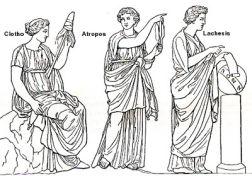 運命の三姉妹モイラ。中央がアトロポス
