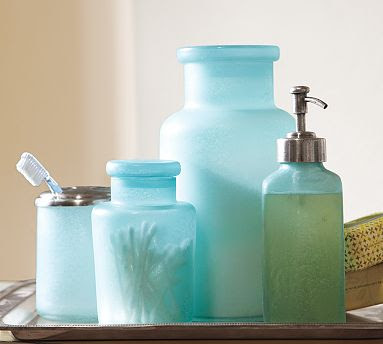 Blue beach glass bath accessories everything turquoise for Aqua blue bathroom accessories