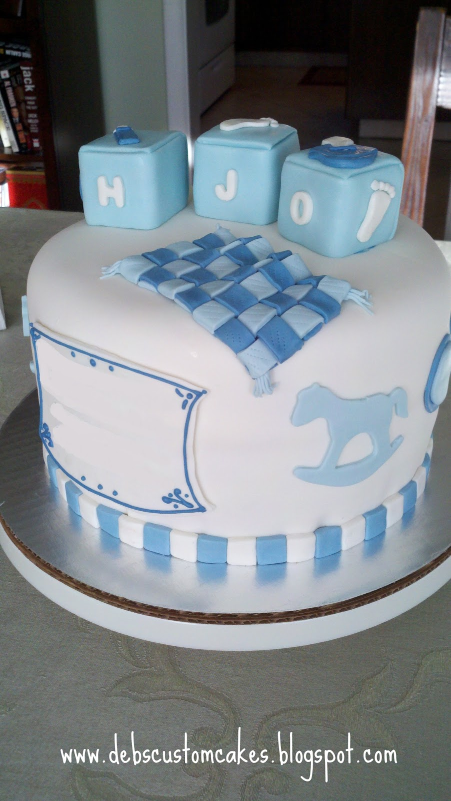Images Of Newborn Baby Boy Cake : Deb s Custom Cakes: New Baby Boy Cake
