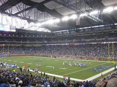 view from the lower bowl, ford field, detroit lions