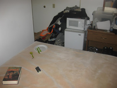 typical Super 8 hotel room, microwave, fridge