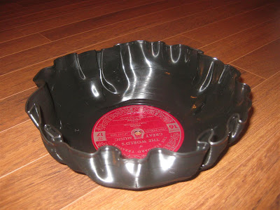bowl i made by melting record in oven, easy, temperature, time