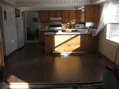 pergo, laminate wood floor, kitchen floor, mahogony, dark