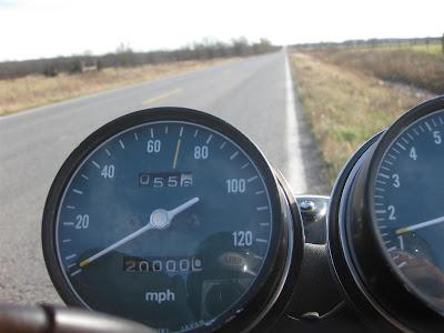 honda motorcycle hits 20000 miles, odometer, trip