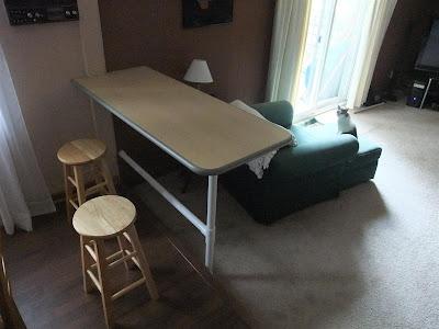 wood and PVC island counter, bar top