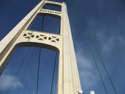 mackinaw bridge, tower, suspension bridge, cable