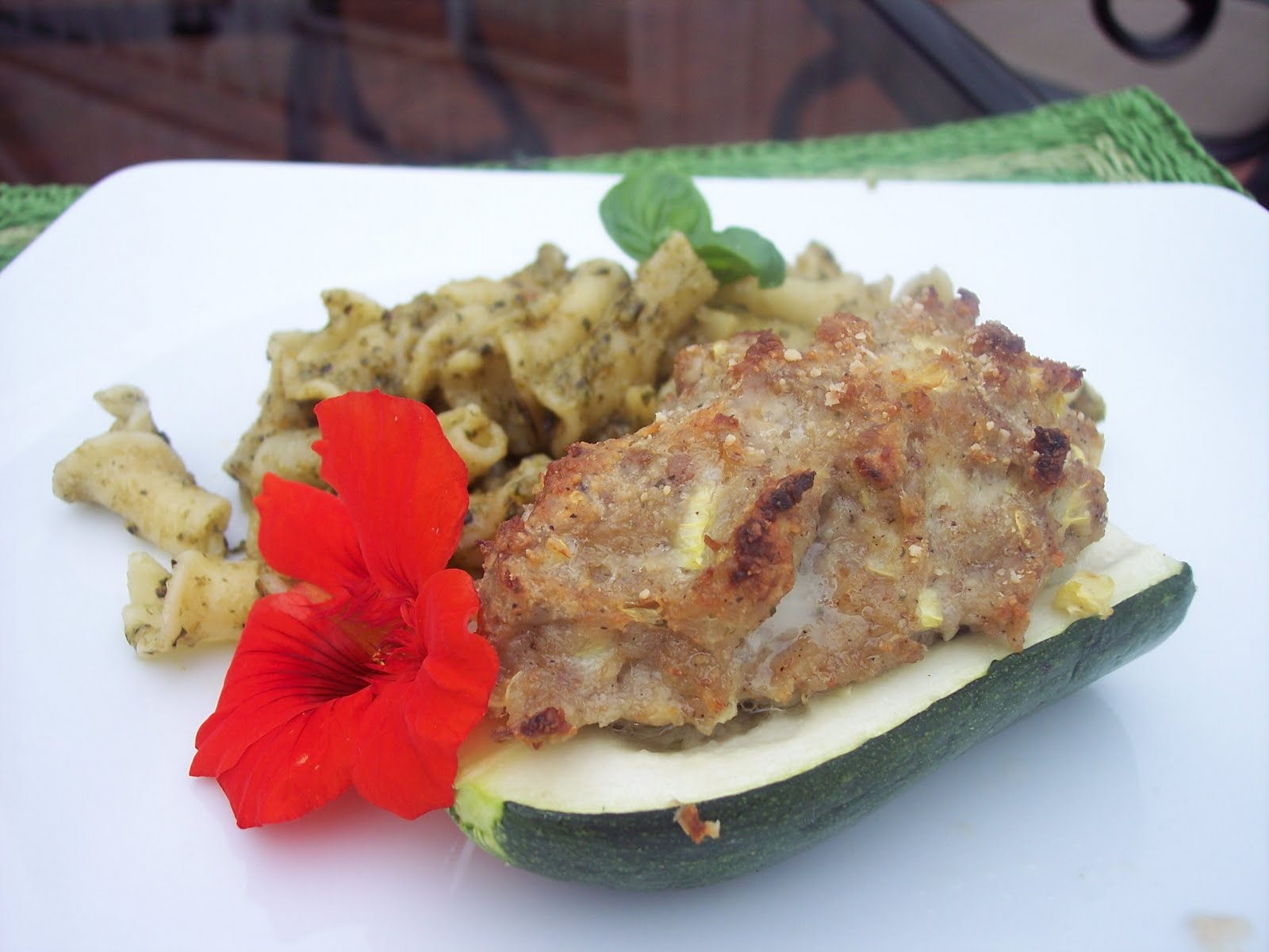 The Irish Mother: Sausage Stuffed Zucchini with Pesto Campanelli