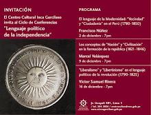 Nueva conferencia; 16 de diciembre. Centro Cultural Inca Garcilaso de la Vega (Lima)