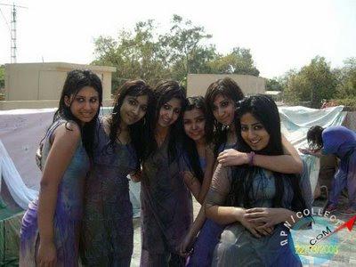 Indian Girls Playing Holi: