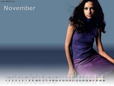 New Year 2011 Calendar, Adriana Lima Desktop Wallpapers