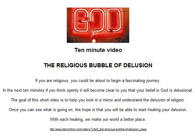 THE RELIGIOUS BUBBLE OF DELUSION