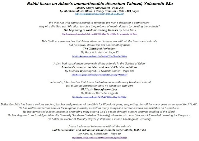 Rabbi Isaac on Adam's unmentionable diversion: Talmud, Yebamoth 63a