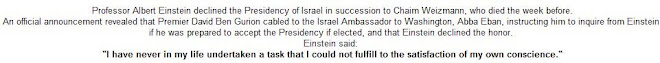 Einstein declined the Presidency of Israel