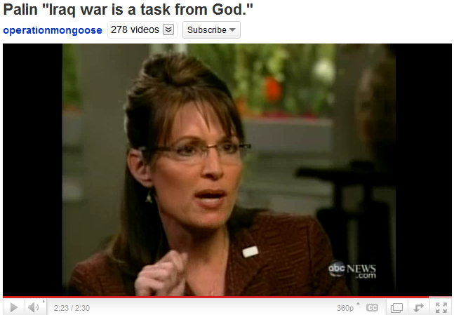 Palin - Iraq war is a task from God