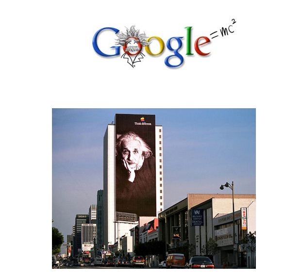 Einstein Google logo and Apple billboard.