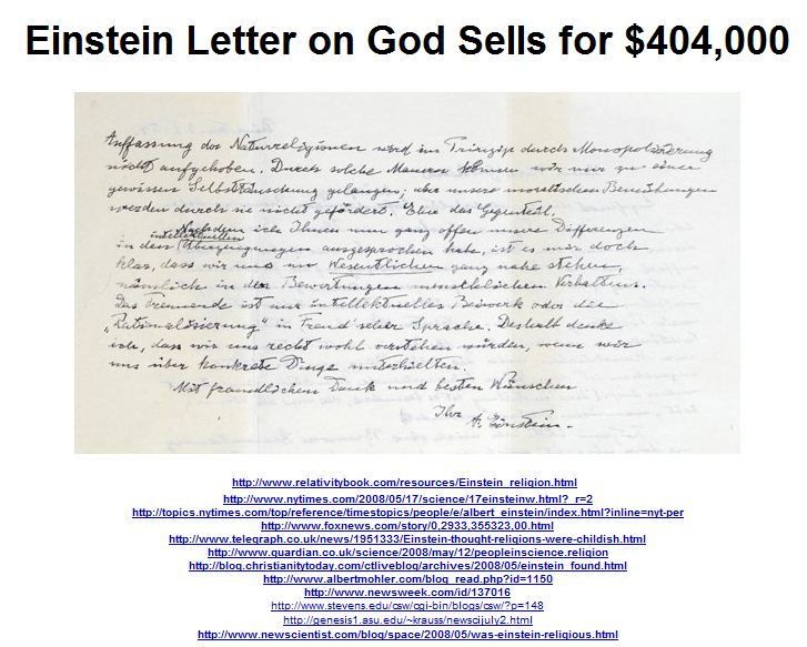 Einstein Letter on God Sells for $404,000
