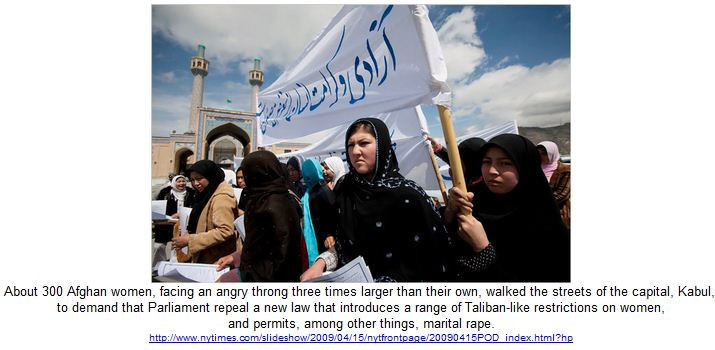 About 300 Afghan women, facing an angry throng.