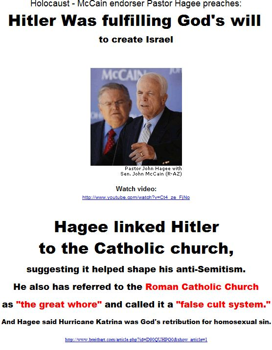 Hitler Was fulfilling God's will to create Israel - Hagee