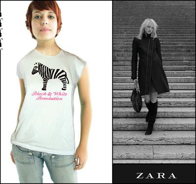 zara camiseta com desenho de zebra
