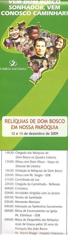 RELÍQUIA DE SÃO JOÃO BOSCO VISITARÃO AMERICAMA - SP (DIOCESE DE LIMEIRA)
