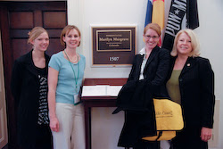 The Colorado team, from left: Kathleen, Jenny, and Jessy with Congresswoman Marilyn Musgrave outside her office.