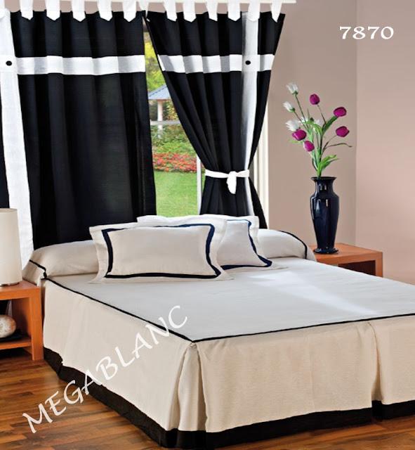 Decorando dormitorios colores negro y blanco fotos - Cortinas negras decoracion ...