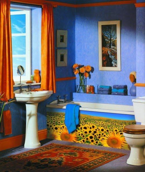 Decoración De Baños Con Color: BAÑOS/ COLORES BRILLANTES AZUL Y NARANJA/ FOTOS