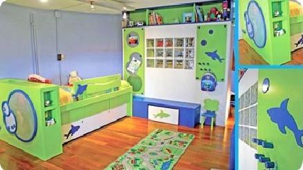 Dormitorio infantil en verde manzana y azul decoraci n for Habitaciones infantiles garabatos