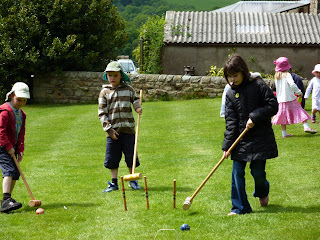 Croquet: L-R Chris, Robert, Holly