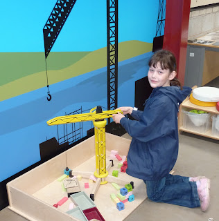 Holly playing cranes in the Ribble Steam Railway Museum