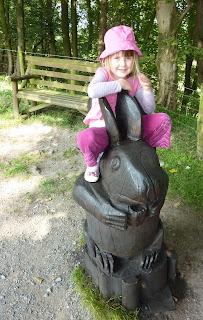 Rosie on Rabbit Sculpture