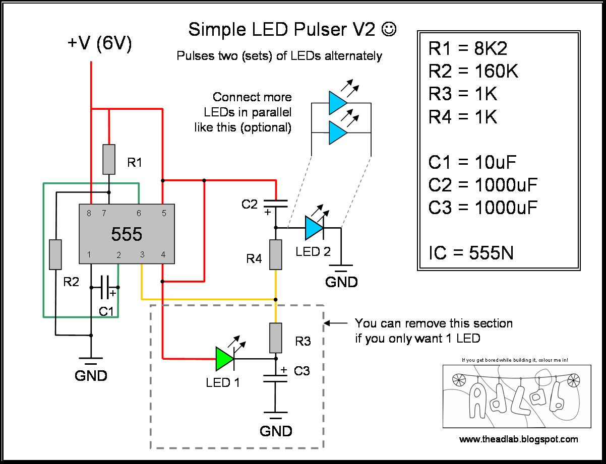The Ad Lab Multiple Led Pulsing Via A 555 Timer 555pwmcircuitsetuppng