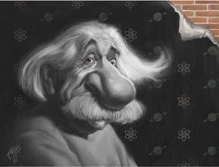 Einstein caricatura ciencia religion