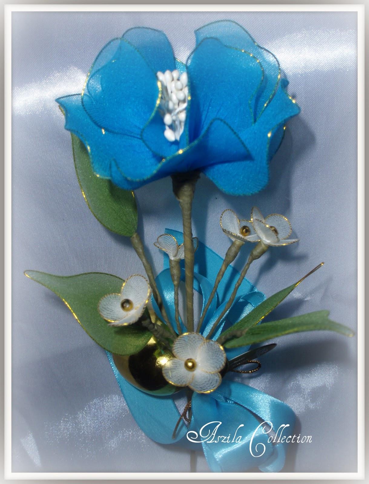 Bunga Telur Pahar Stokin Biru