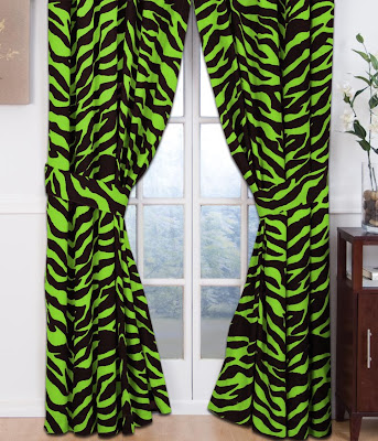 lime zebra curtains
