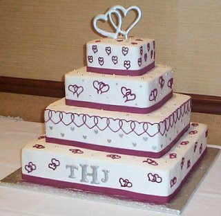 heart square wedding cakes
