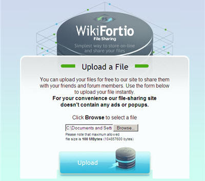 Upload Files on Wikifortio - Rapidshare Style  File Hosting Service