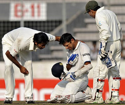 Rahul Dravid injured