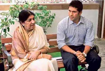 Sachin and Lata Mangeshkar
